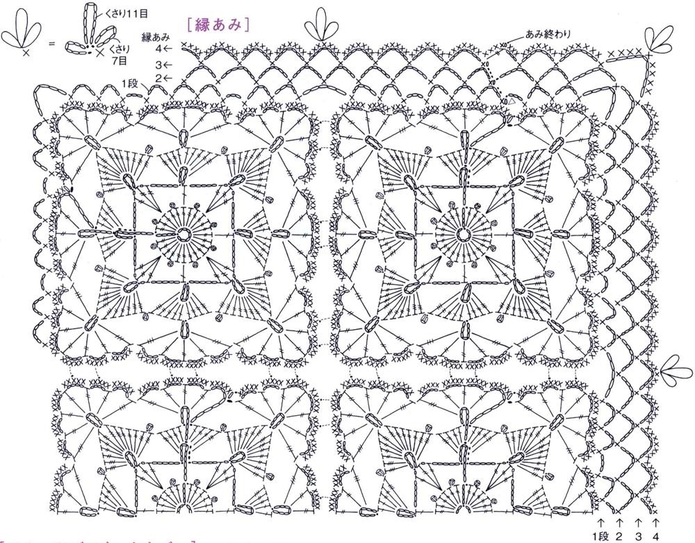 Вязание крючком квадрат простой схема 32