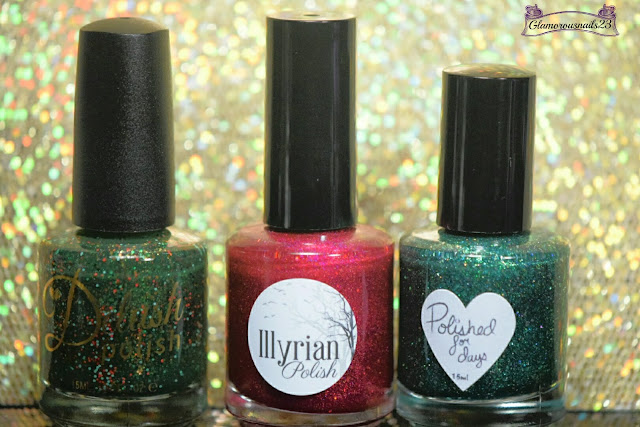 Delush Polish Round Of A Claus, Illyrian Polish Shiny Red Balls, Polished For Days Under The Mistletoe