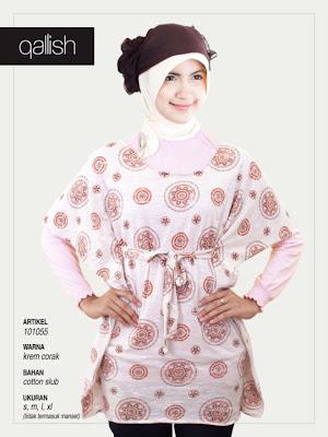 Produk Qallish Kaos Cardigan Koleksi Gamis Muslimah Krem Corak