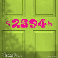 Groovy Style Custom House Number Vinyl Door Decal