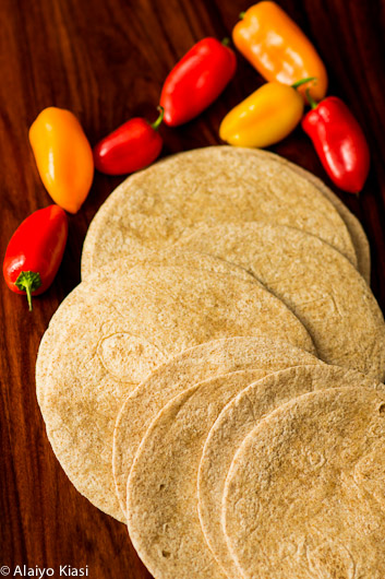 Photo of whole wheat tortillas and sweet peppers