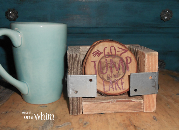Lake Life Log Slice Coasters with an Industrial Style Holder from Denise on a Whim