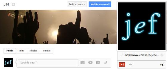 Aperçu de la page Google+