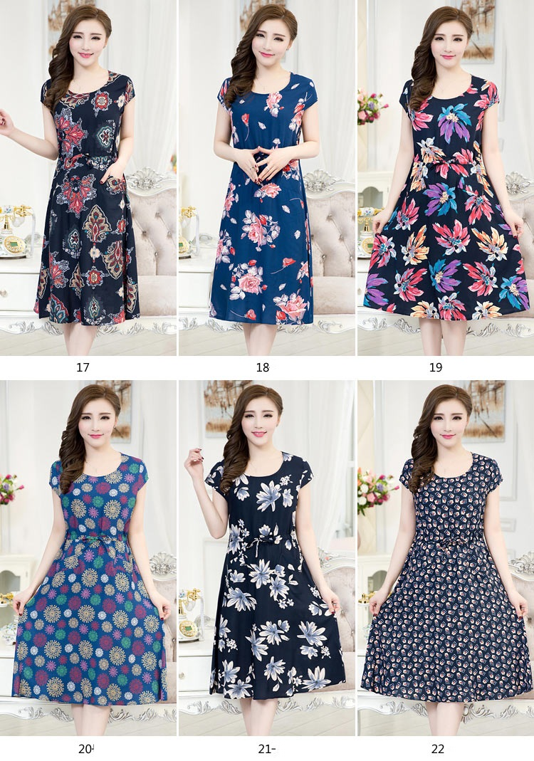 New 2016 Spring Plus Size Short Sleeve Floral Print Rayon Silk Cotton Dress
