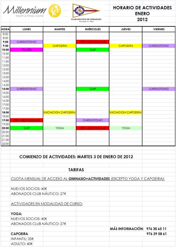 Club n utico zaragoza nuevos horarios y actividades del for Horario gimnasio