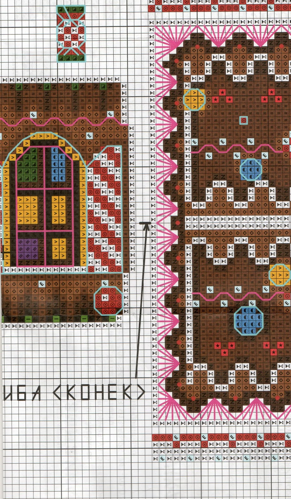 Вышивка пряничный домик схема 13
