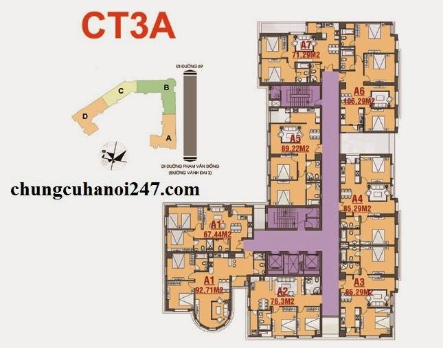 Mặt bằng tầng căn hộ chung cư CT3A Cổ Nhuế - Hoàng Quốc Việt Residentials