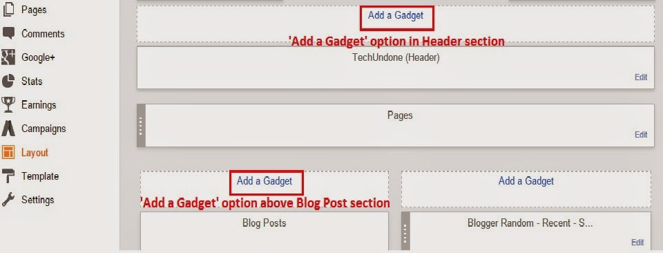 Add a Gadget in blogger body - blogtlog.com