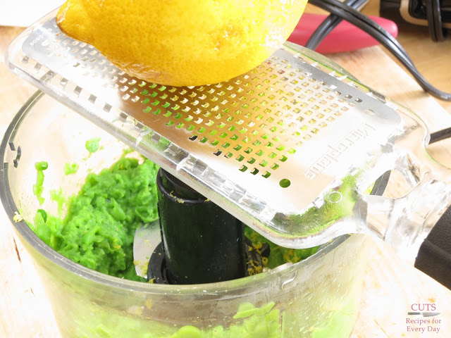 Lemon zest, pea puree