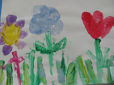 Spring flowers, child's painting, bright colors, happy, preschool,