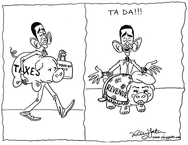 Revenue Increases cartoon, Tax increase cartoon, Obama taxes