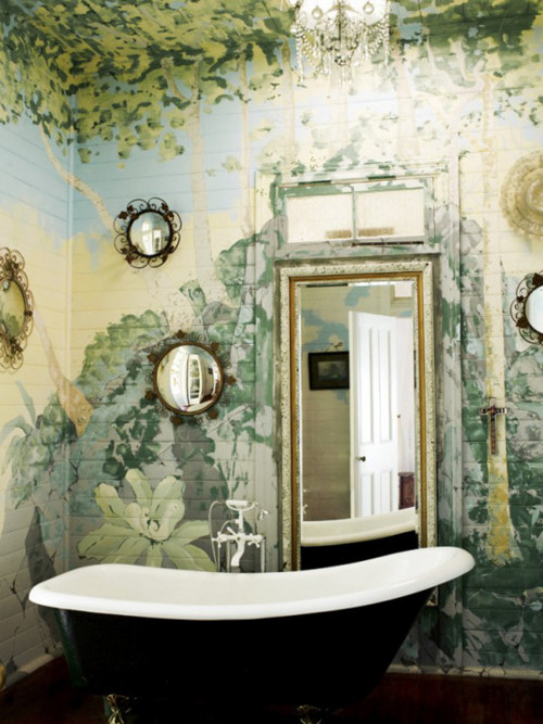 Wall murals on pinterest murals floral wall and for Bathroom mural tiles