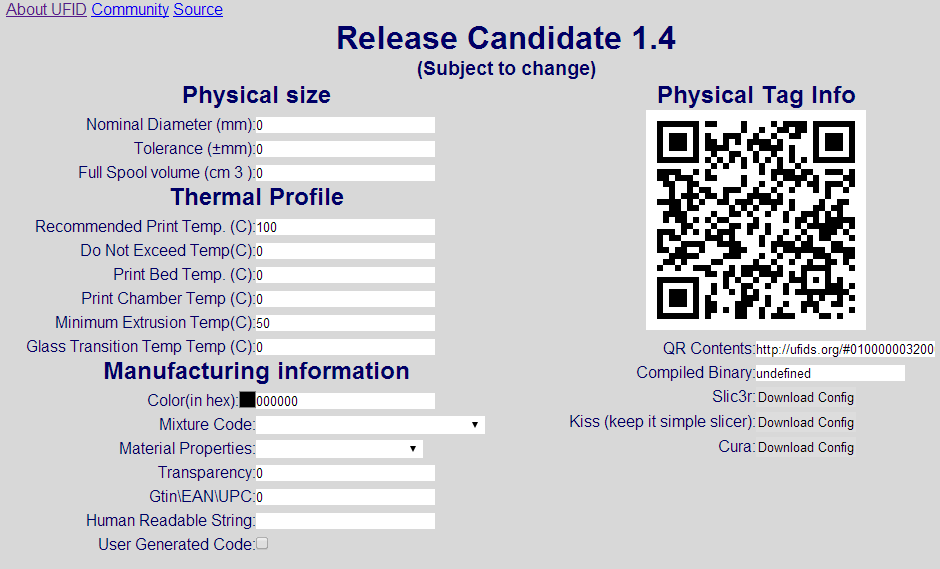 UFIDS Web Interface Where You Can Setup All The Filament Parameters And Get QR Slicer Codes Generated