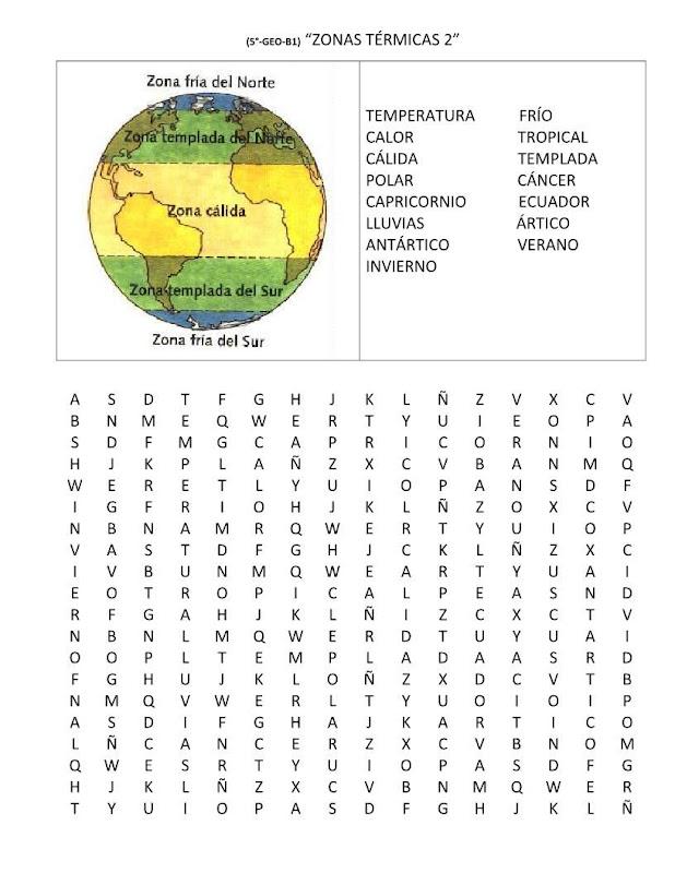 Sopa de letras zonas térmicas