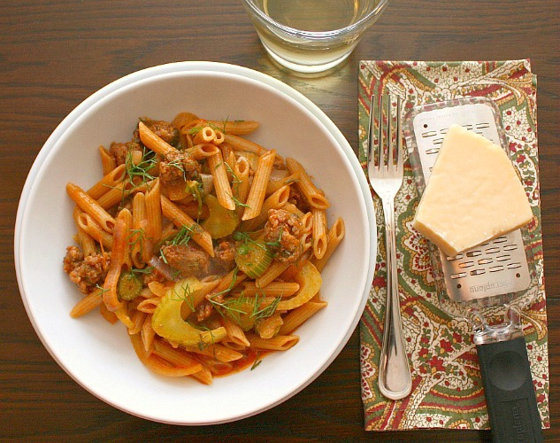 APPLE A DAY: Pasta with Sausage, Onions, and Fennel