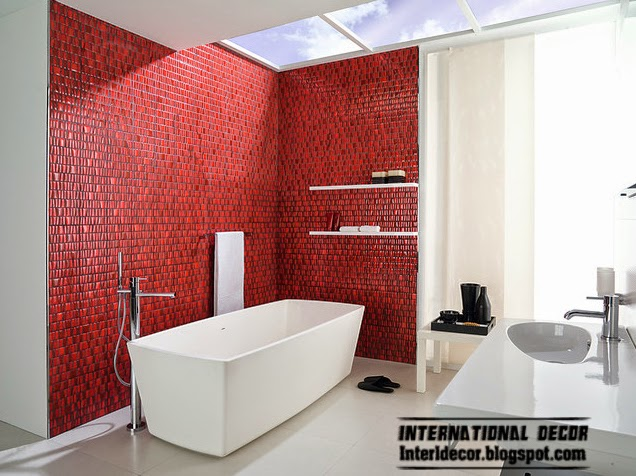 decorate with red, red mosaic tiles for bathroom