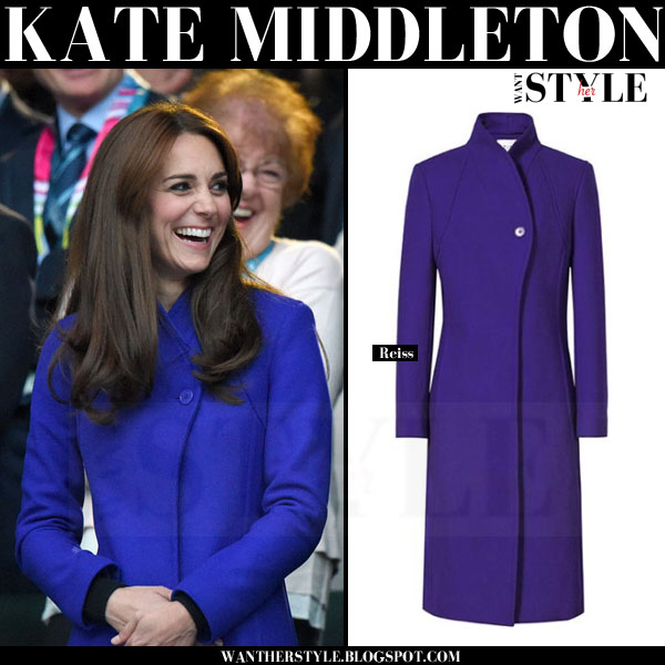 Kate Middleton in blue high neck one button Reiss emile coat what she wore 2015
