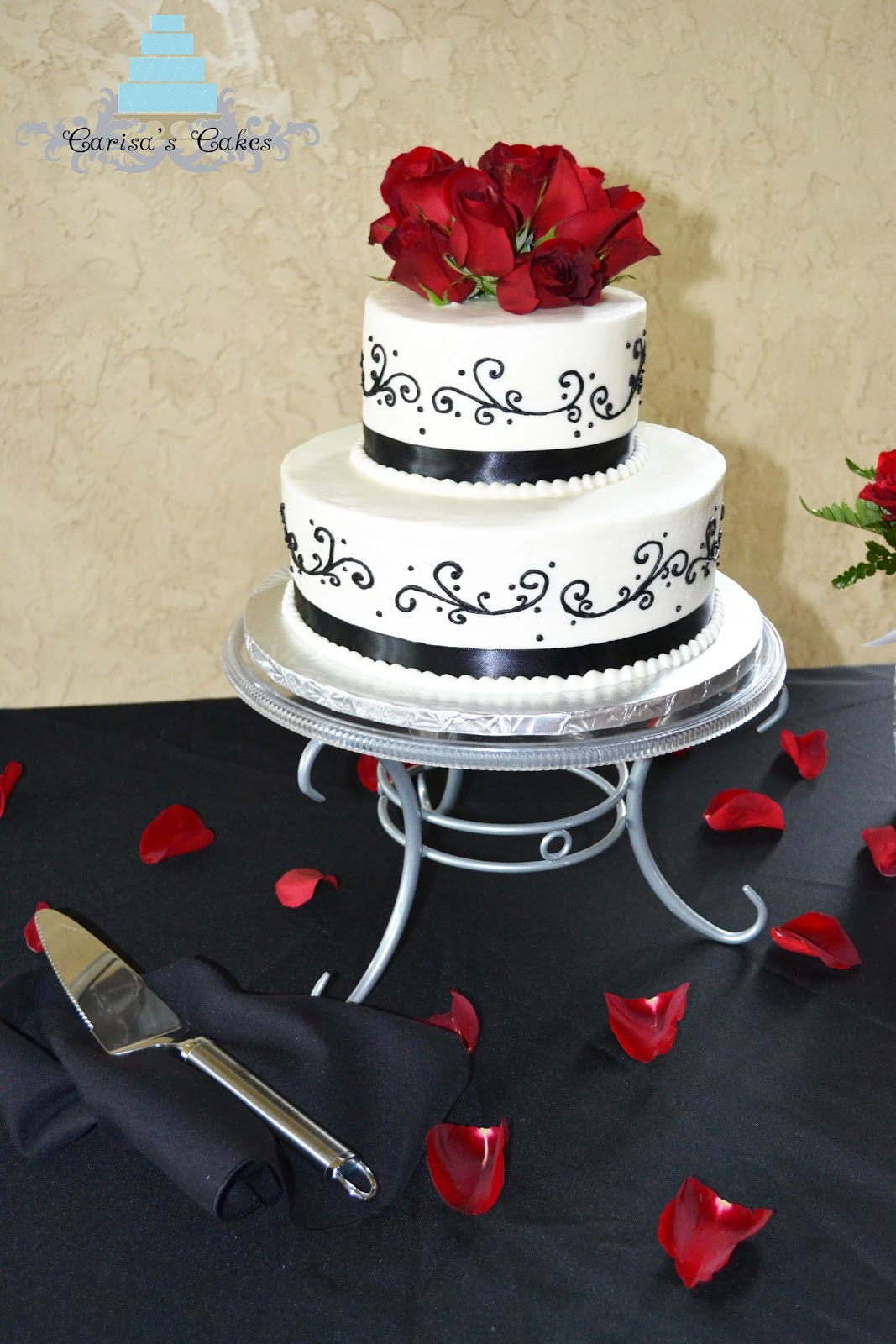 Carisa s Cakes Black and White Wedding Cake