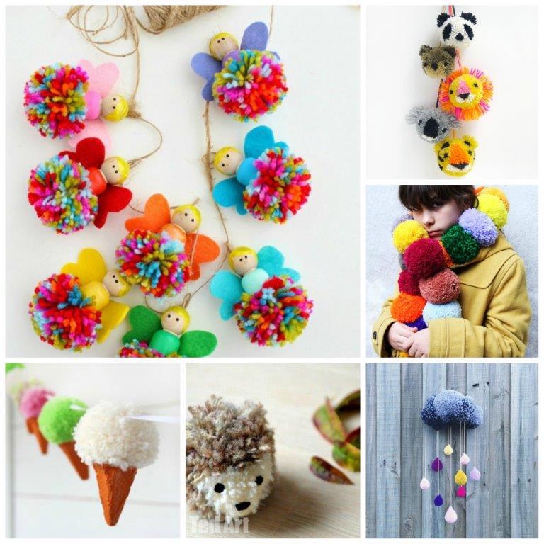 25 pom pom crafts to make you pom pom crazy handy diy for Pom pom crafts