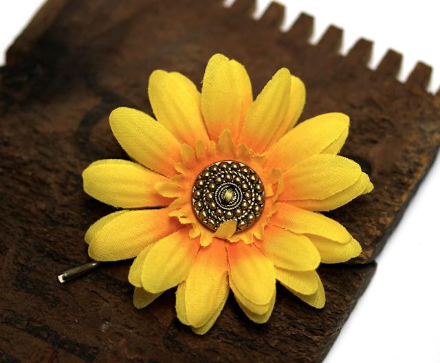 Bright Yellow Hair Flower Pin #yellow #hair #accessory #flower