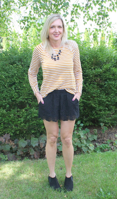 Amber stripes, black lace shorts and booties