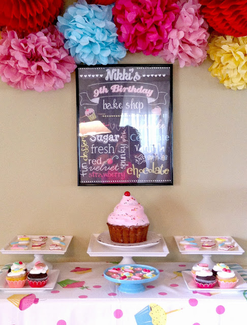 giant cupcake, cupcake printable poster, Sunny by Design, party backdrops, little cupcake