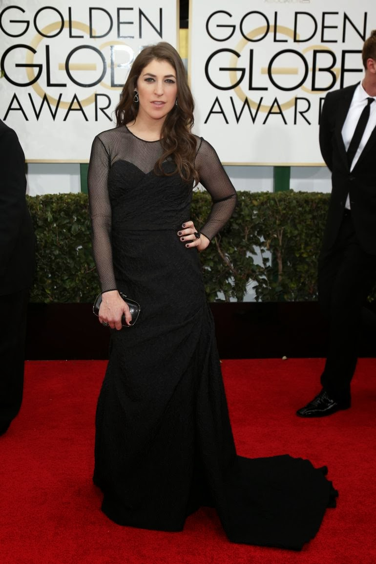 Mayim Bialik in David Meister Signature. Checkout this modest black velvet gown with sleeves