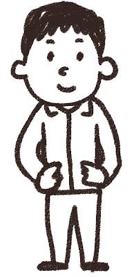 ジャージを着た男子中学生・高校生のイラスト 白黒線画