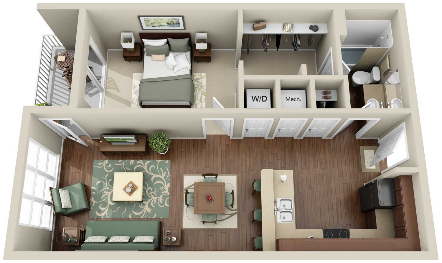 13 awesome 3d house plan ideas that give a stylish new for Bedroom planner