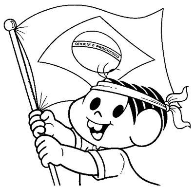 Desenho Dia da Pátria pra colorir Mônica Turma da Mônica