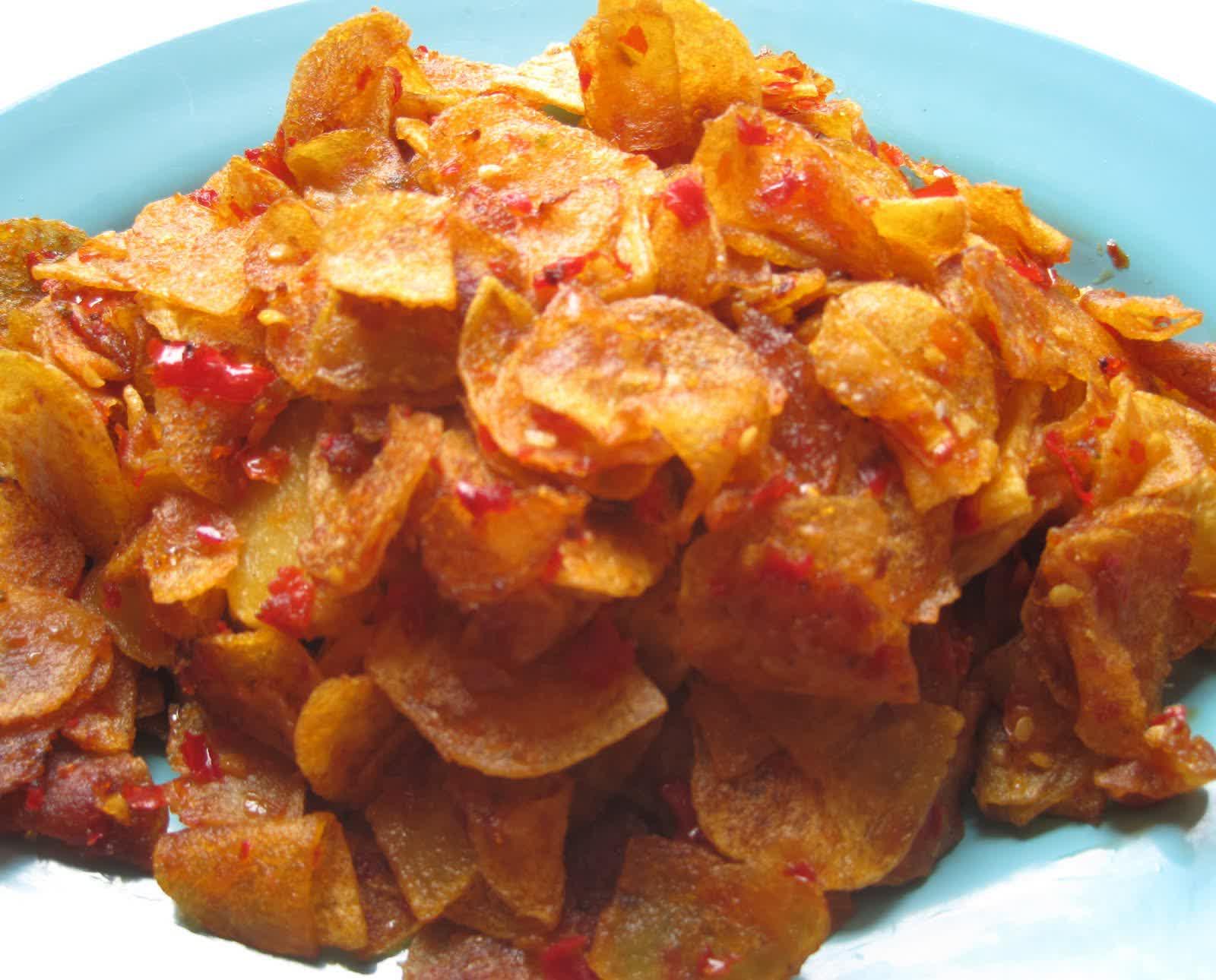 Cara membuat keripik kentang pedas renyah