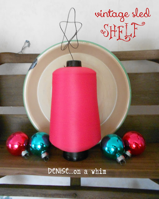 Teal and pink decorations on a vintage sled shelf via http://deniseonawhim.blogspot.com