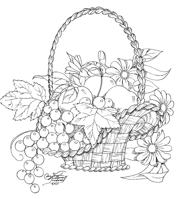 Imagenes de canasta de frutas para colorear - Imagui