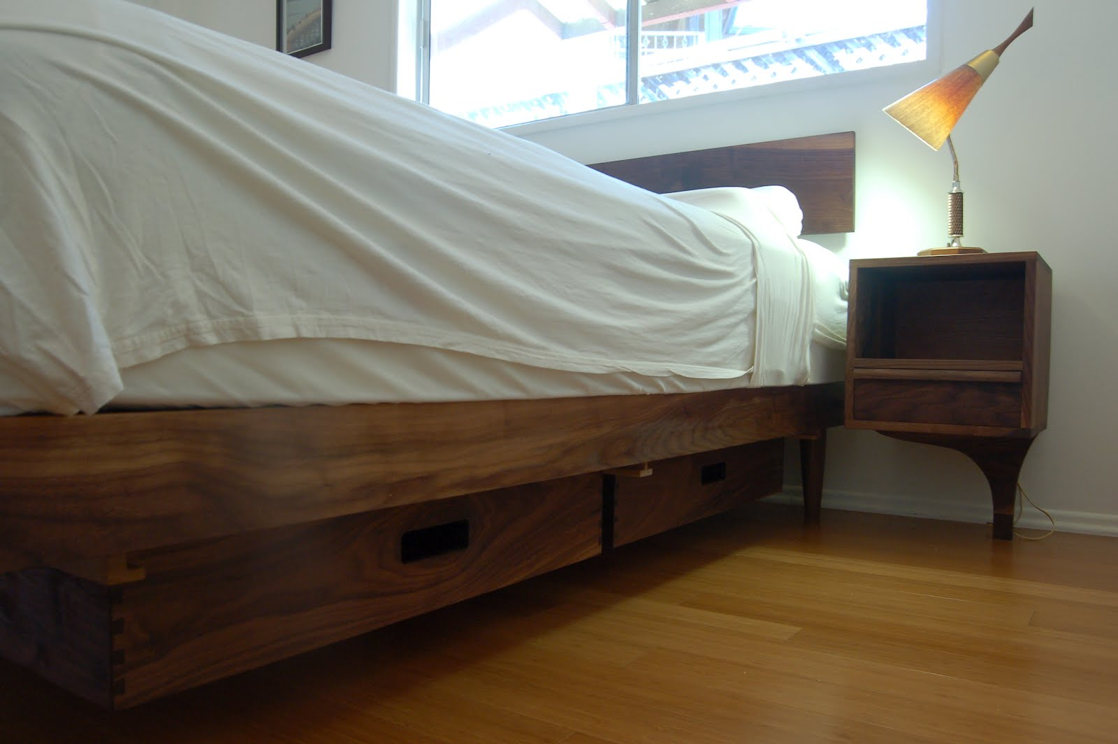 Furniture by pete walnut storage bed with attached night stands - Beds with desks attached ...