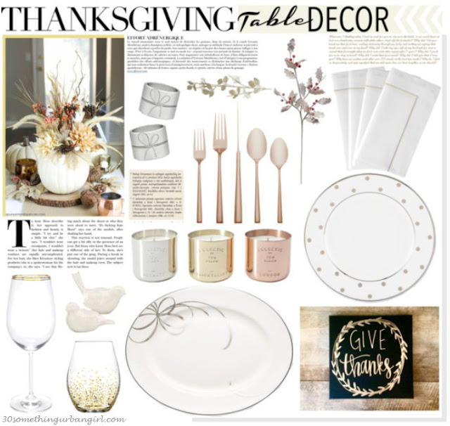 White, gold and rose gold Thanksgiving table decoration