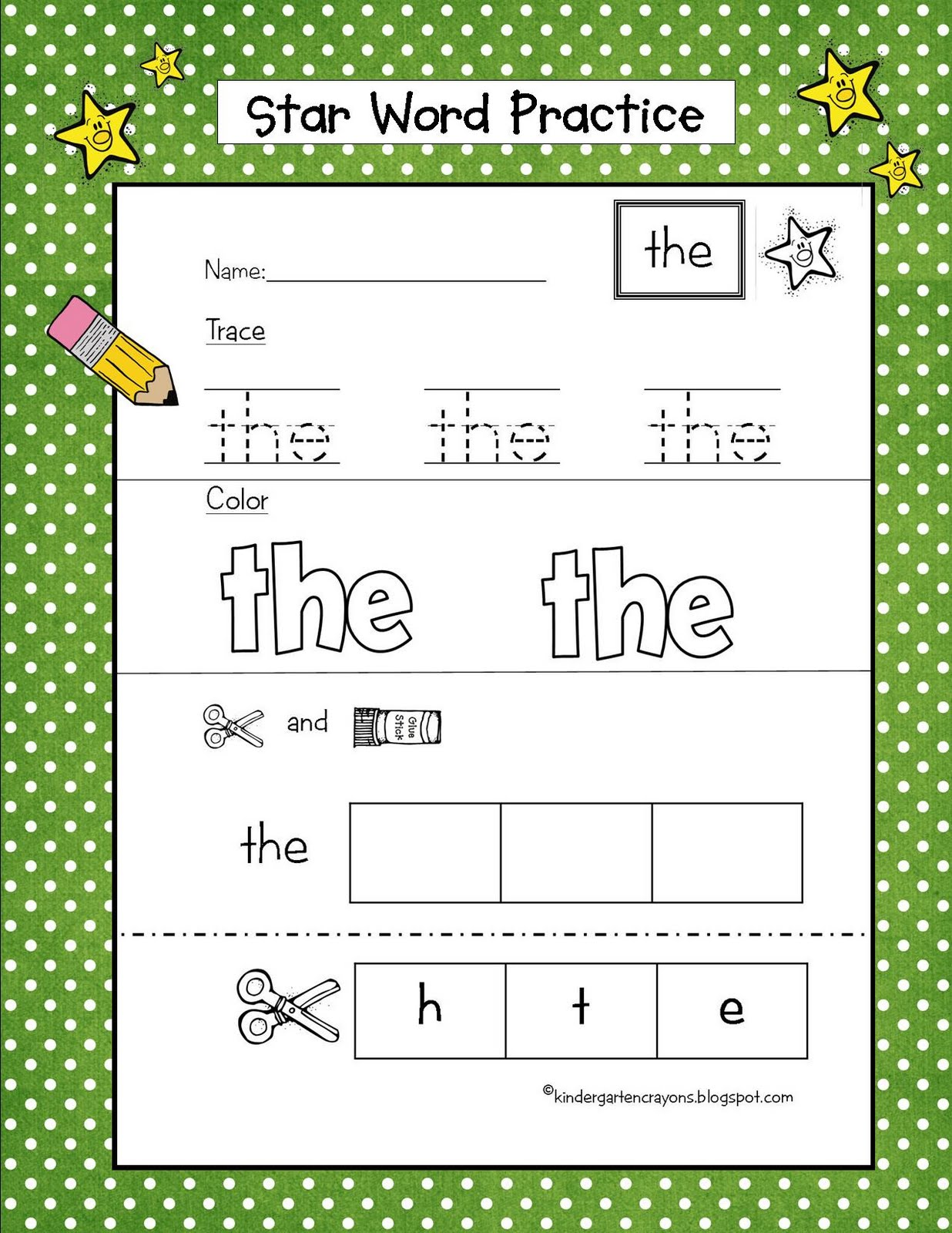 word  Falling the sight activities in Stars Kindergarten Crayons: kindergarten Sky From Are