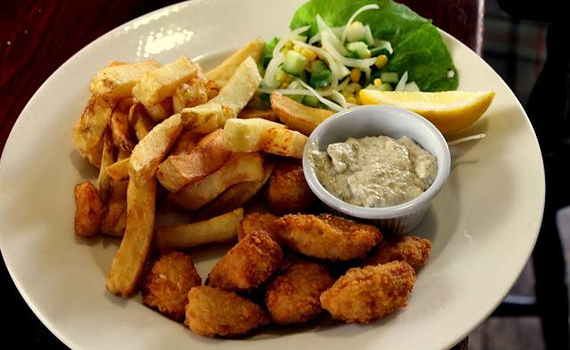 scampi chips salad and tartar sauce