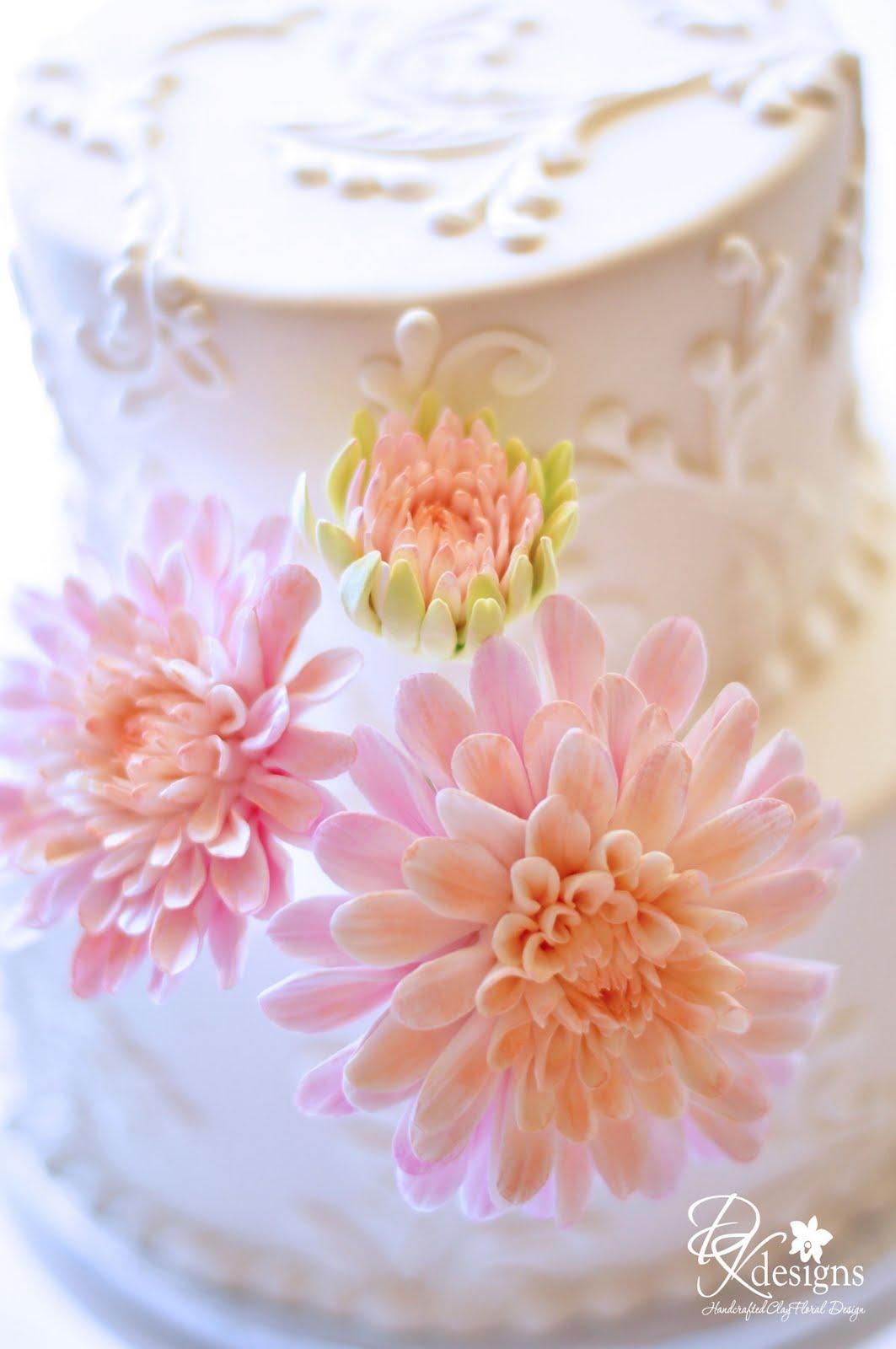 Cafe Au Lait Dahlia Cake Flowers - DK Designs