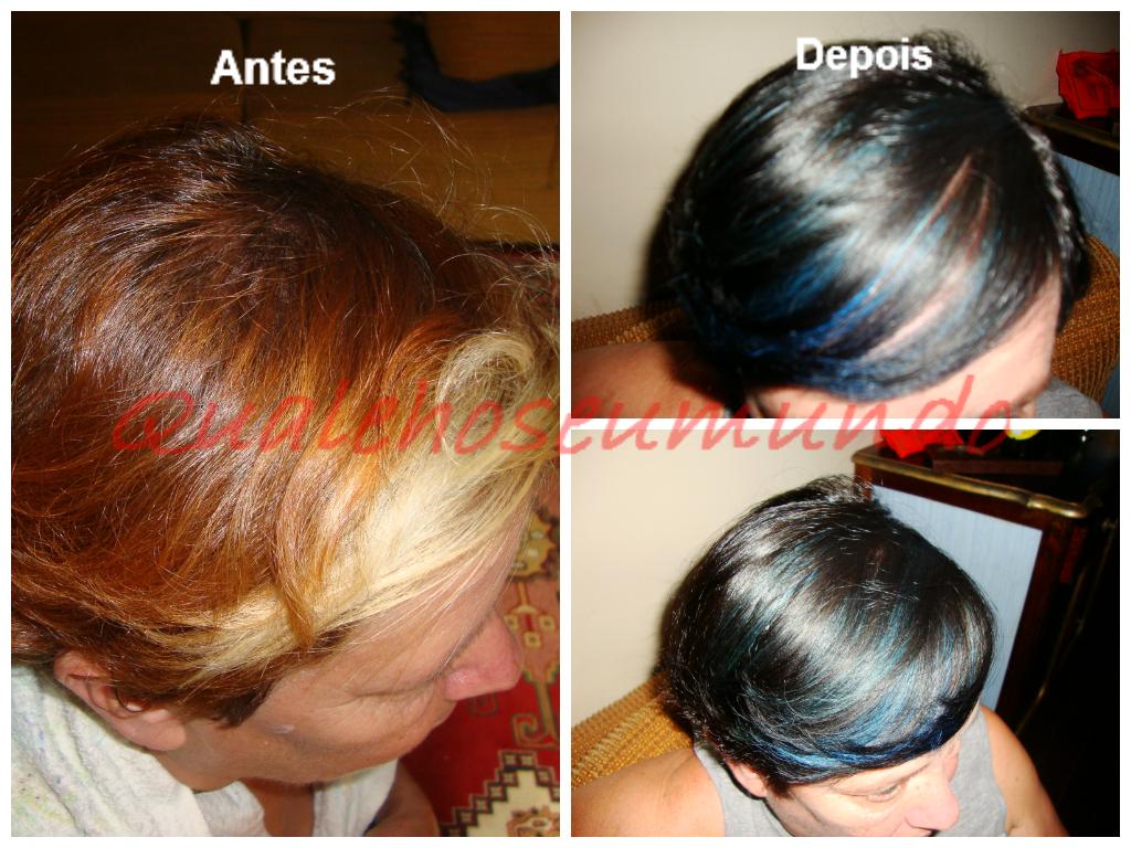 cabelo com mechas azuis