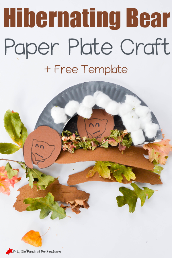 HIBERNATING BEAR PAPER PLATE CRAFT AND FREE TEMPLATE