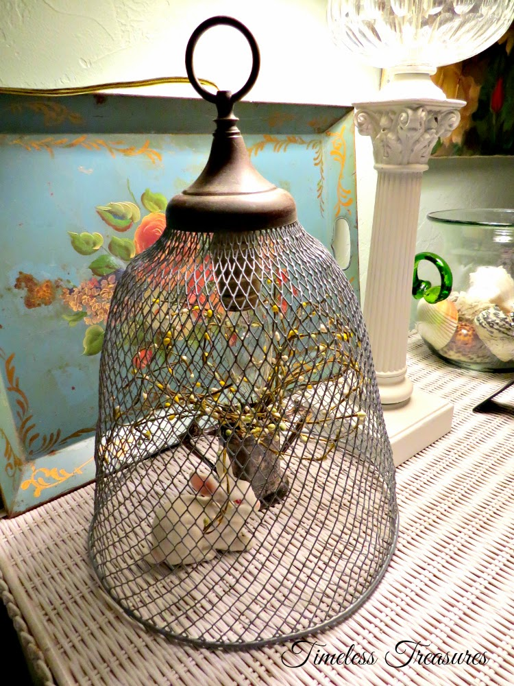 Timeless Treasures Wire Trash Basket Cloche Light