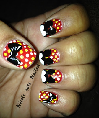 Mickey Mouse Nails Art Red Polka Dot