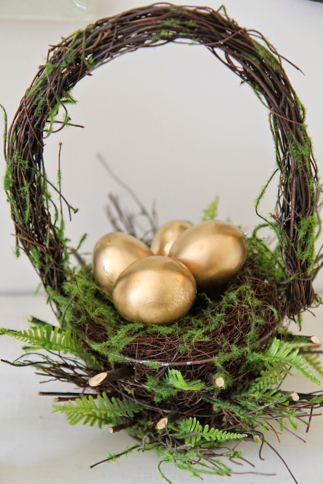 Golden Eggs in a Basket; Easter Buffet Table Decor - Nora's Nest