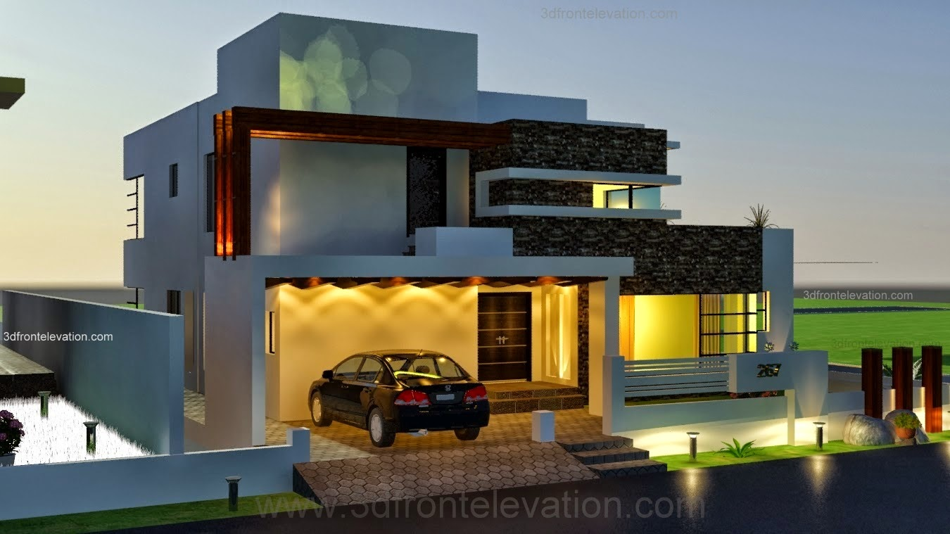 Contemporary style house elevation