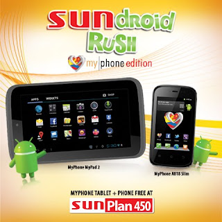 MyPhone Mypad 2 Tablet and MyPhone A818 Slim on Sun Plan 450 Sundroid Rush MyPhone Edition