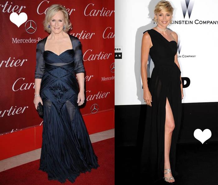 MINHA MÃE QUER SER MOCINHA_Sharon Stone_Glenn Close_vestido transparente mas discreto_vestido de fenda_vestido preto_vestido de festa pra quem tem mais idade