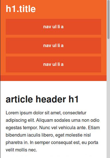 Tampilan halaman website berbasis framework templat Initializr dengan ukuran browser yang diperkecil