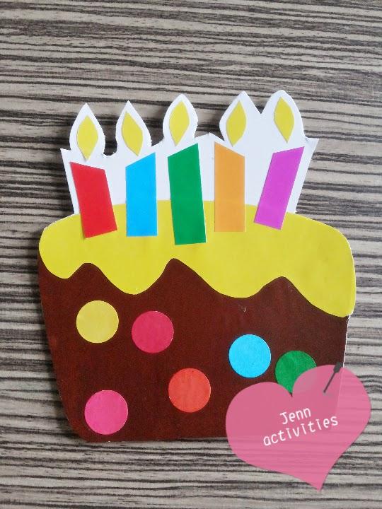 Jenns Activities And Crafts Diy Birthday Cake Theme Card