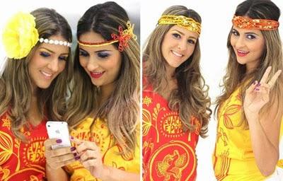 acessórios de cabeca para Carnaval Headband flor e turbante glam