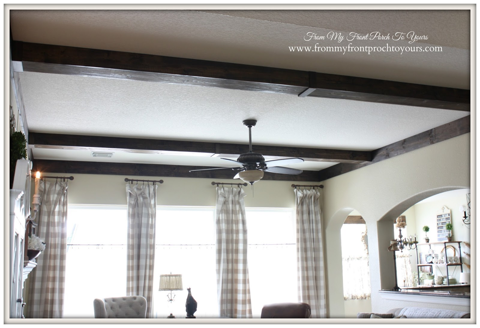 French Farmhouse living room with diy wood beams.- From My Front Porch To Yours